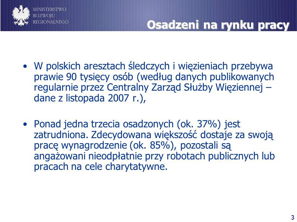 3 Osadzeni na rynku pracy W polskich aresztach śledczych i więzieniach przebywa prawie 90 tysięcy osób (według danych publikowanych regularnie przez Centralny Zarząd Służby Więziennej – dane z listopada 2007 r.), Ponad jedna trzecia osadzonych (ok.