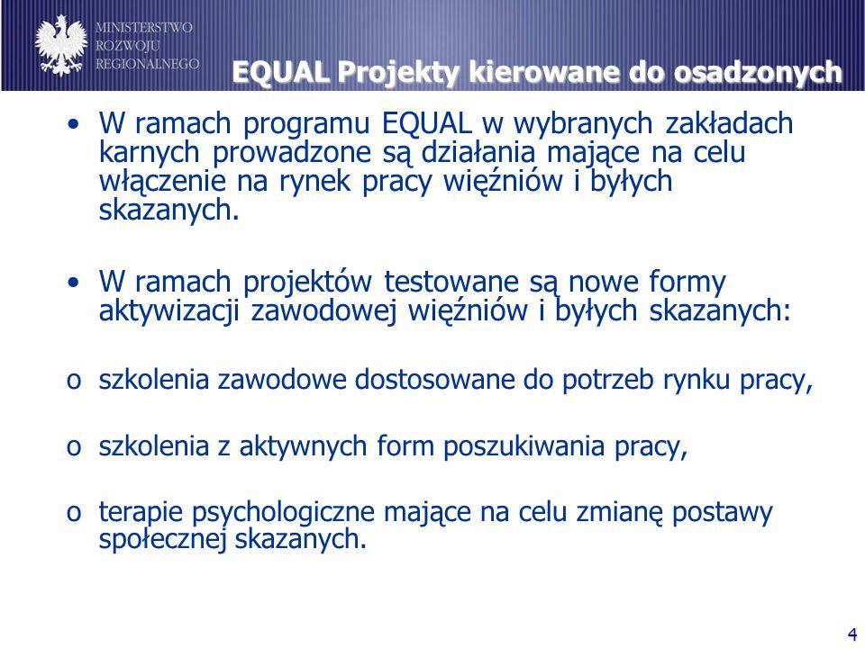 4 EQUAL Projekty kierowane do osadzonych W ramach programu EQUAL w wybranych zakładach karnych prowadzone są działania mające na celu włączenie na ryn