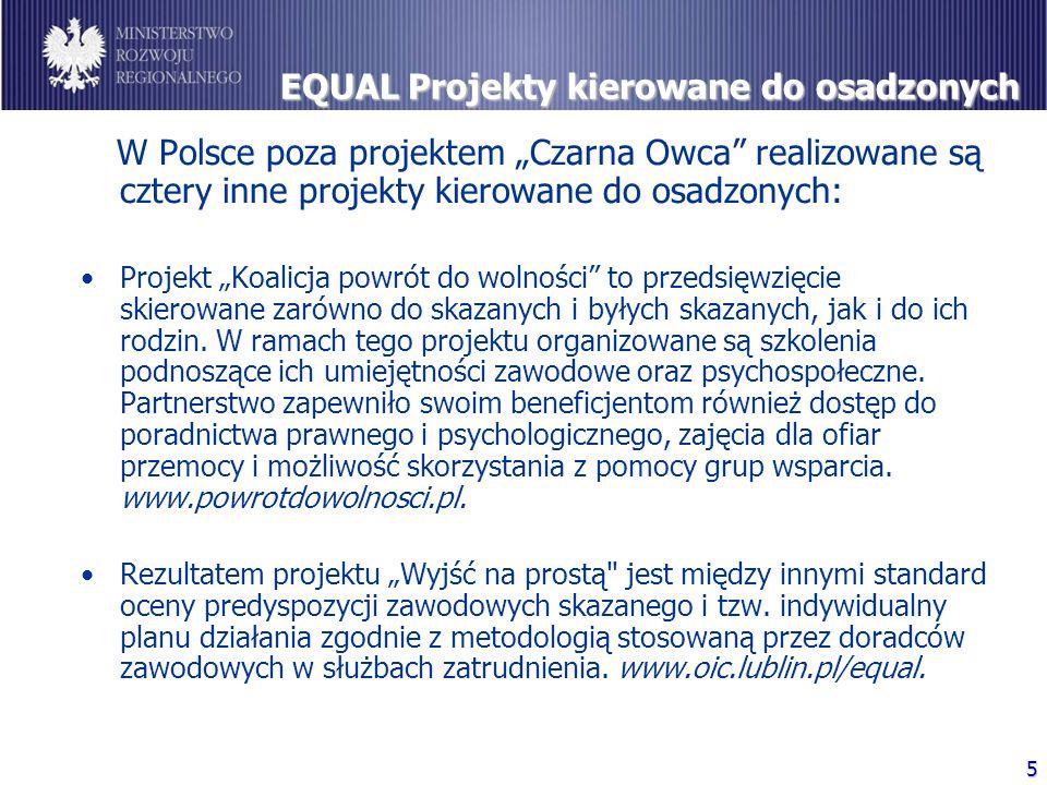 """5 EQUAL Projekty kierowane do osadzonych W Polsce poza projektem """"Czarna Owca realizowane są cztery inne projekty kierowane do osadzonych: Projekt """"Koalicja powrót do wolności to przedsięwzięcie skierowane zarówno do skazanych i byłych skazanych, jak i do ich rodzin."""