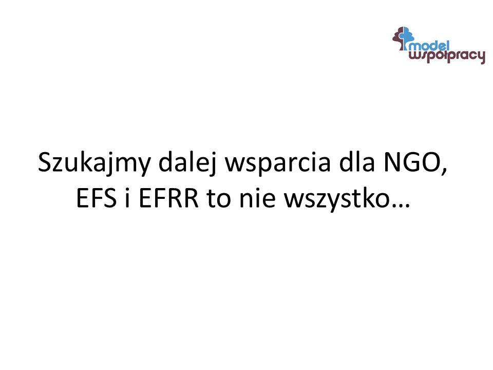 Szukajmy dalej wsparcia dla NGO, EFS i EFRR to nie wszystko…