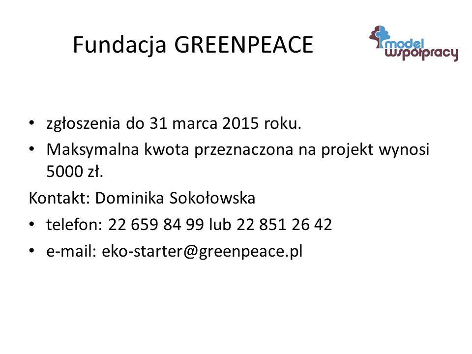 Fundacja GREENPEACE zgłoszenia do 31 marca 2015 roku.