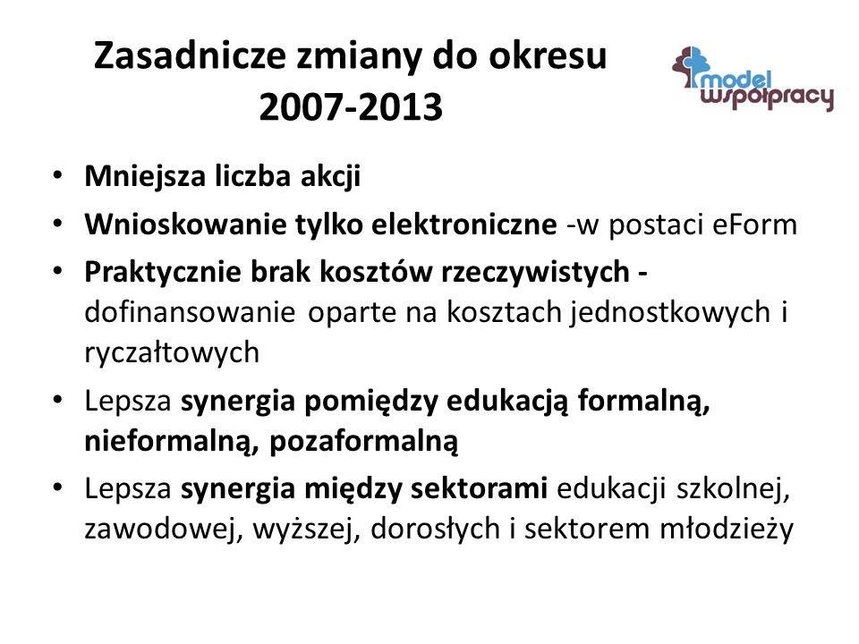 Zasadnicze zmiany do okresu 2007-2013 Mniejsza liczba akcji Wnioskowanie tylko elektroniczne -w postaci eForm Praktycznie brak kosztów rzeczywistych - dofinansowanie oparte na kosztach jednostkowych i ryczałtowych Lepsza synergia pomiędzy edukacją formalną, nieformalną, pozaformalną Lepsza synergia między sektorami edukacji szkolnej, zawodowej, wyższej, dorosłych i sektorem młodzieży