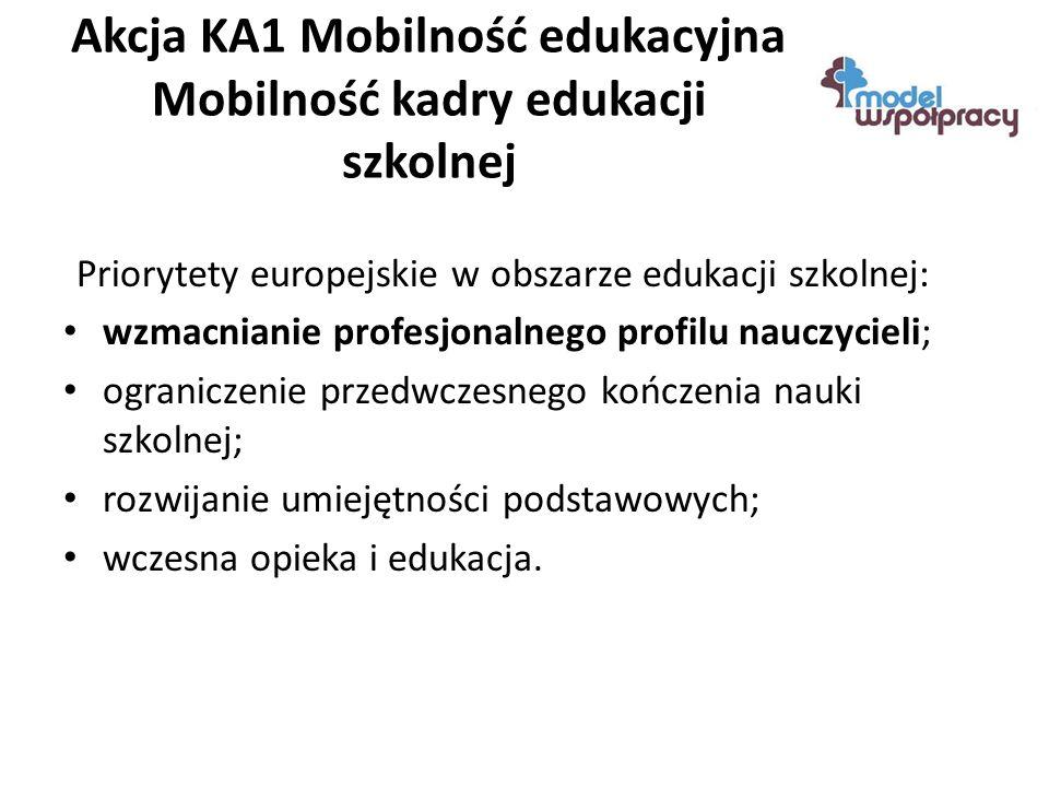 Akcja KA1 Mobilność edukacyjna Mobilność kadry edukacji szkolnej Priorytety europejskie w obszarze edukacji szkolnej: wzmacnianie profesjonalnego profilu nauczycieli; ograniczenie przedwczesnego kończenia nauki szkolnej; rozwijanie umiejętności podstawowych; wczesna opieka i edukacja.