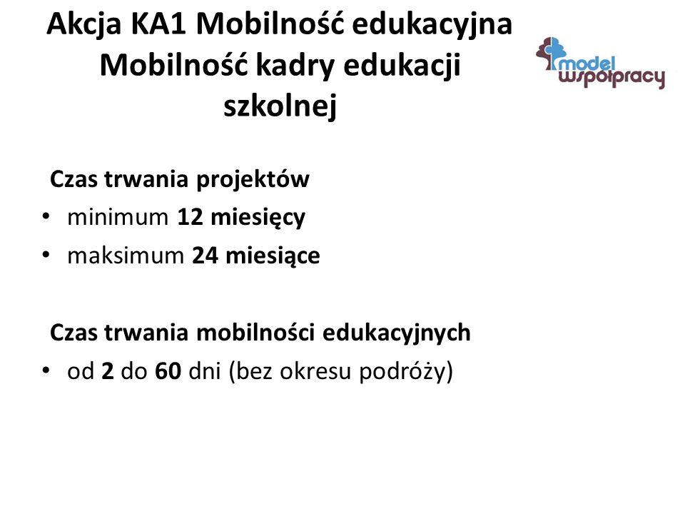 Akcja KA1 Mobilność edukacyjna Mobilność kadry edukacji szkolnej Czas trwania projektów minimum 12 miesięcy maksimum 24 miesiące Czas trwania mobilności edukacyjnych od 2 do 60 dni (bez okresu podróży)
