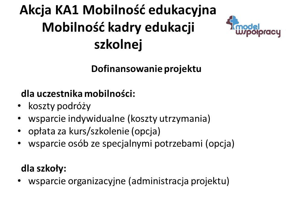 Akcja KA1 Mobilność edukacyjna Mobilność kadry edukacji szkolnej Dofinansowanie projektu dla uczestnika mobilności: koszty podróży wsparcie indywidualne (koszty utrzymania) opłata za kurs/szkolenie (opcja) wsparcie osób ze specjalnymi potrzebami (opcja) dla szkoły: wsparcie organizacyjne (administracja projektu)