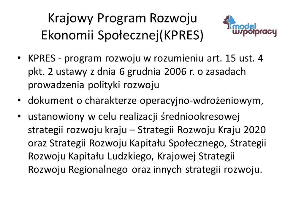 Krajowy Program Rozwoju Ekonomii Społecznej(KPRES) KPRES - program rozwoju w rozumieniu art.