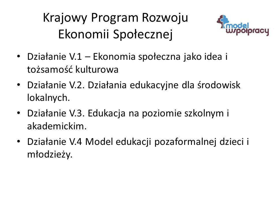Krajowy Program Rozwoju Ekonomii Społecznej Działanie V.1 – Ekonomia społeczna jako idea i tożsamość kulturowa Działanie V.2.