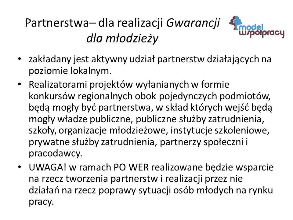 Partnerstwa– dla realizacji Gwarancji dla młodzieży zakładany jest aktywny udział partnerstw działających na poziomie lokalnym.