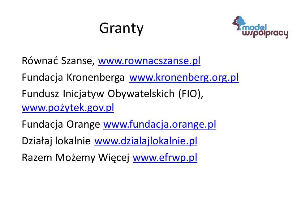 Granty Równać Szanse, www.rownacszanse.plwww.rownacszanse.pl Fundacja Kronenberga www.kronenberg.org.plwww.kronenberg.org.pl Fundusz Inicjatyw Obywatelskich (FIO), www.pożytek.gov.pl www.pożytek.gov.pl Fundacja Orange www.fundacja.orange.plwww.fundacja.orange.pl Działaj lokalnie www.dzialajlokalnie.plwww.dzialajlokalnie.pl Razem Możemy Więcej www.efrwp.plwww.efrwp.pl
