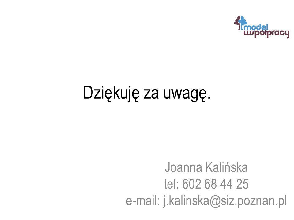 Dziękuję za uwagę. Joanna Kalińska tel: 602 68 44 25 e-mail: j.kalinska@siz.poznan.pl