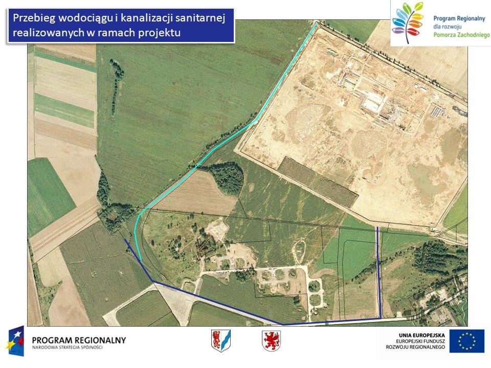 Przebieg wodociągu i kanalizacji sanitarnej realizowanych w ramach projektu