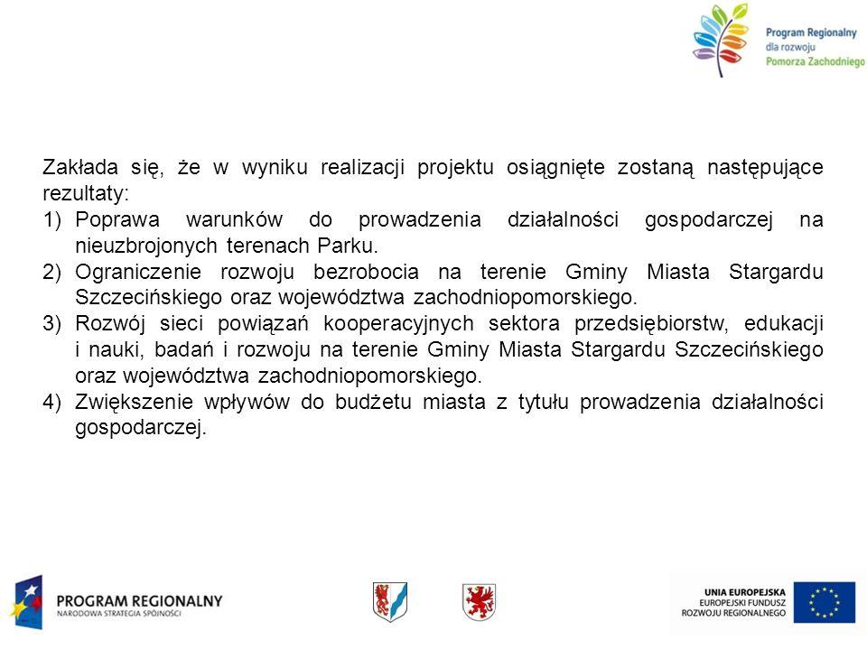 Zakłada się, że w wyniku realizacji projektu osiągnięte zostaną następujące rezultaty: 1)Poprawa warunków do prowadzenia działalności gospodarczej na