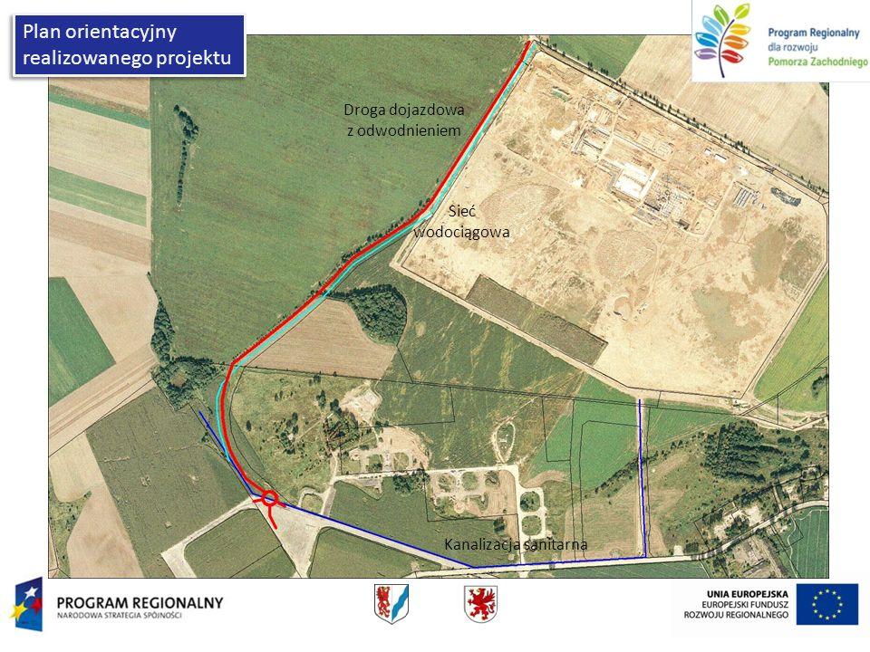 Plan orientacyjny realizowanego projektu Droga dojazdowa z odwodnieniem Sieć wodociągowa Kanalizacja sanitarna