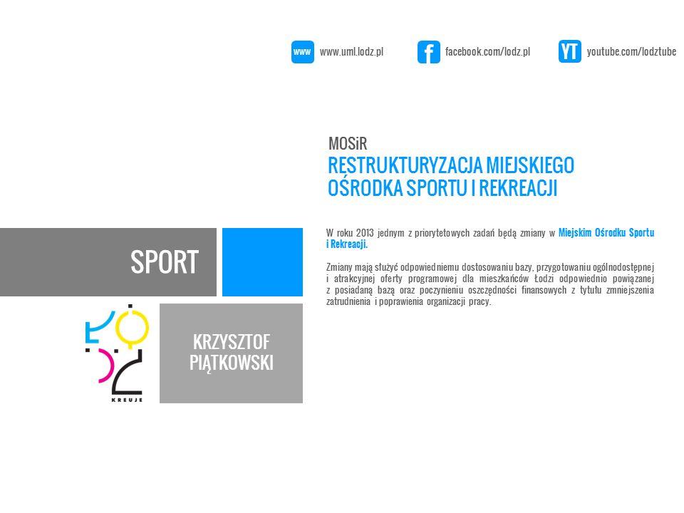 SPORT KRZYSZTOF PIĄTKOWSKI W roku 2013 jednym z priorytetowych zadań będą zmiany w Miejskim Ośrodku Sportu i Rekreacji.