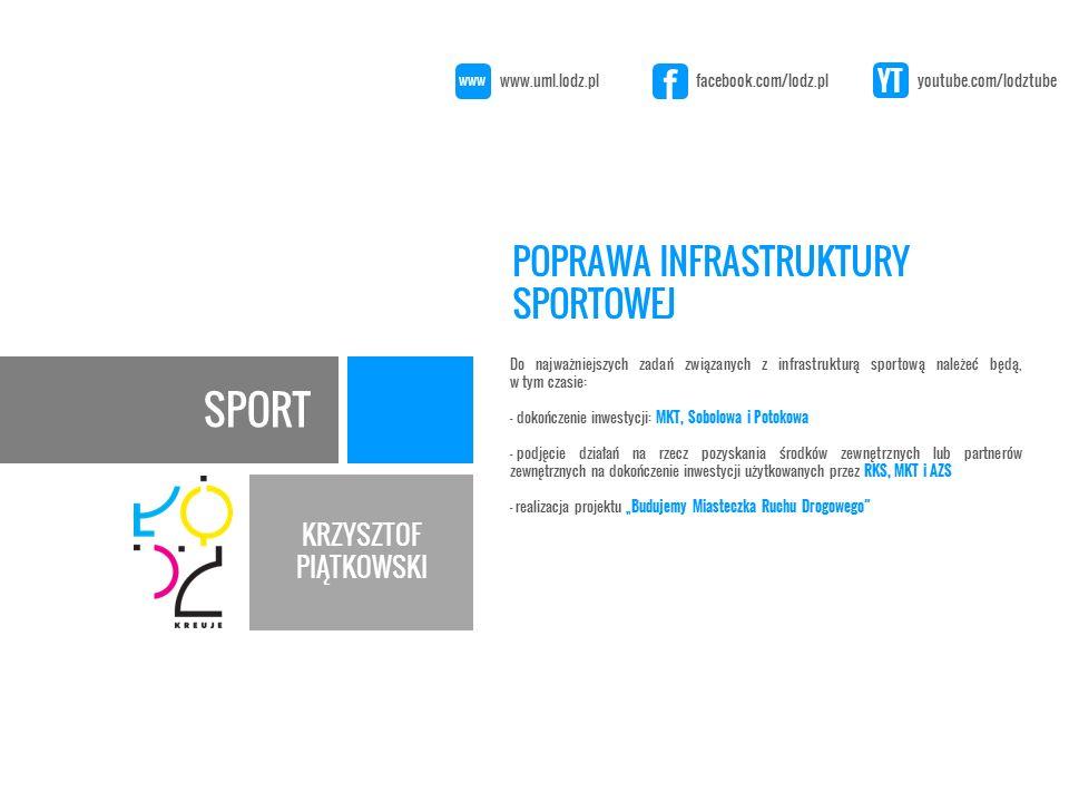 """SPORT KRZYSZTOF PIĄTKOWSKI Do najważniejszych zadań związanych z infrastrukturą sportową należeć będą, w tym czasie: - dokończenie inwestycji: MKT, Sobolowa i Potokowa - podjęcie działań na rzecz pozyskania środków zewnętrznych lub partnerów zewnętrznych na dokończenie inwestycji użytkowanych przez RKS, MKT i AZS - realizacja projektu """"Budujemy Miasteczka Ruchu Drogowego POPRAWA INFRASTRUKTURY SPORTOWEJ www.uml.lodz.pl facebook.com/lodz.pl youtube.com/lodztube www f YT"""