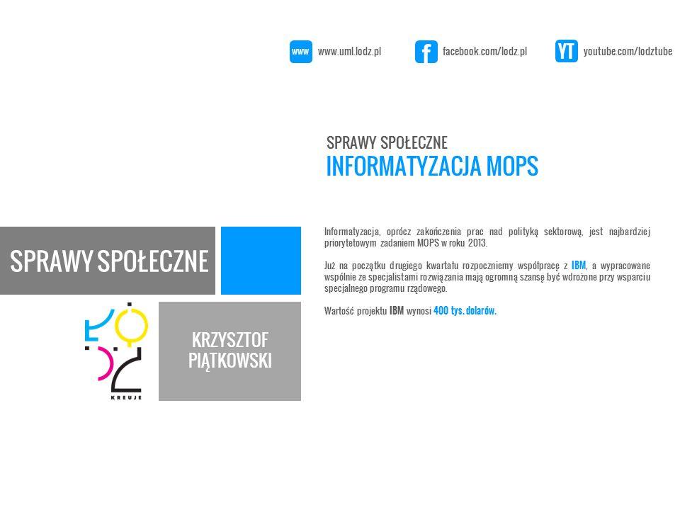 KRZYSZTOF PIĄTKOWSKI Informatyzacja, oprócz zakończenia prac nad polityką sektorową, jest najbardziej priorytetowym zadaniem MOPS w roku 2013.