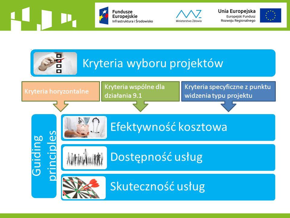Efektywność kosztowa Dostępność usług Skuteczność usług Kryteria wyboru projektów Guiding principles Kryteria wspólne dla działania 9.1 Kryteria specyficzne z punktu widzenia typu projektu Kryteria horyzontalne