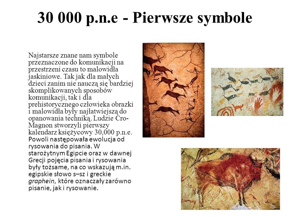 30 000 p.n.e - Pierwsze symbole Najstarsze znane nam symbole przeznaczone do komunikacji na przestrzeni czasu to malowidła jaskiniowe. Tak jak dla mał