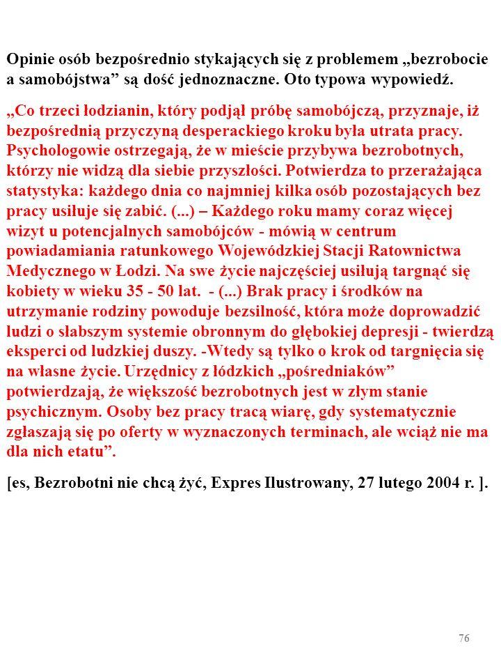 """75 BEZROBOCIE A SAMOBÓJSTWA W POLSCE II (Zob. Kurowska, A. Bezrobocie a zamachy samobójcze, """"Ekonomista"""", nr 3; 2006 r. )"""