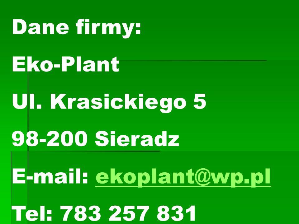 Dane firmy: Eko-Plant Ul.