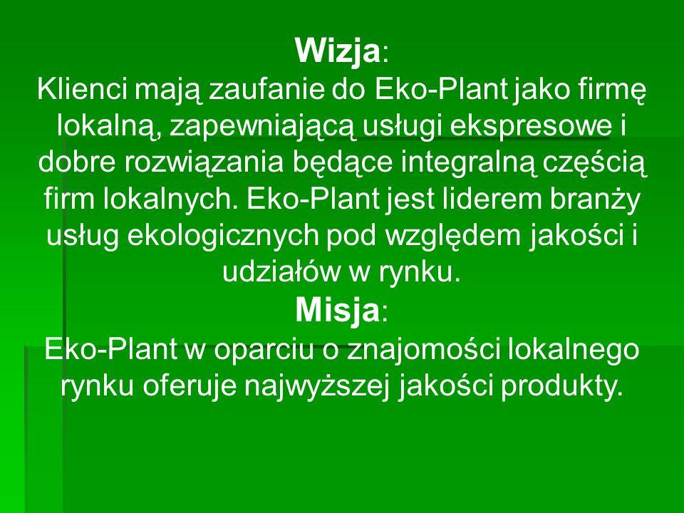Wizja : Klienci mają zaufanie do Eko-Plant jako firmę lokalną, zapewniającą usługi ekspresowe i dobre rozwiązania będące integralną częścią firm lokalnych.