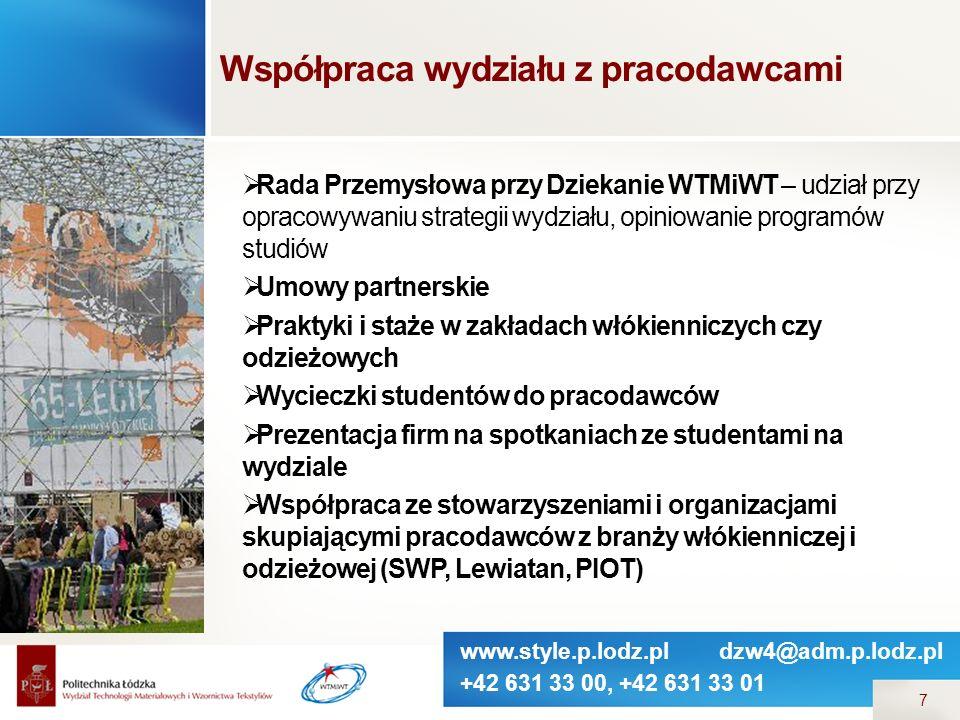 www.style.p.lodz.pl dzw4@adm.p.lodz.pl +42 631 33 00, +42 631 33 01 7 Współpraca wydziału z pracodawcami  Rada Przemysłowa przy Dziekanie WTMiWT – ud