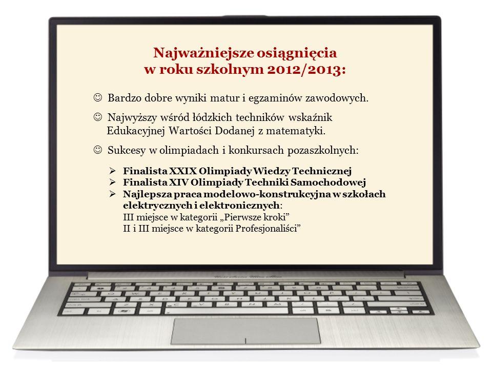 Najważniejsze osiągnięcia w roku szkolnym 2012/2013:  Finalista XXIX Olimpiady Wiedzy Technicznej  Finalista XIV Olimpiady Techniki Samochodowej  N