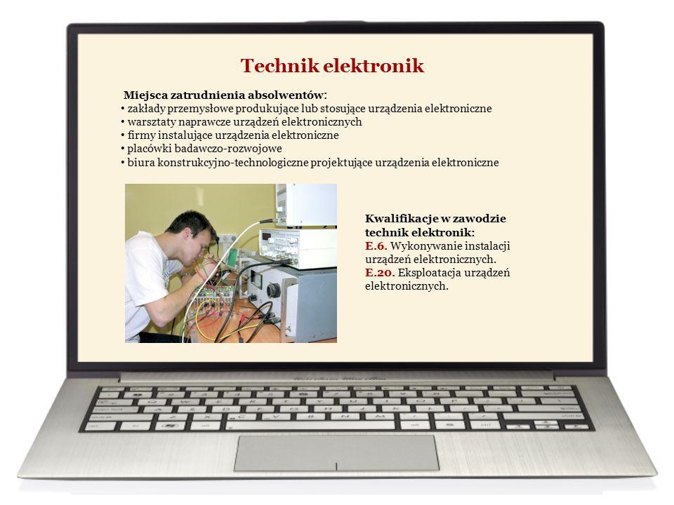 Technik mechatronik Miejsca zatrudnienia absolwentów : firmy o zautomatyzowanym i zrobotyzowanym cyklu produkcyjnym firmy prowadzące usługi w zakresie projektowania urządzeń i systemów mechatronicznych zakłady serwisowe urządzeń mechatronicznych samodzielna działalność gospodarcza Kwalifikacje w zawodzie technik mechatronik: E.3.