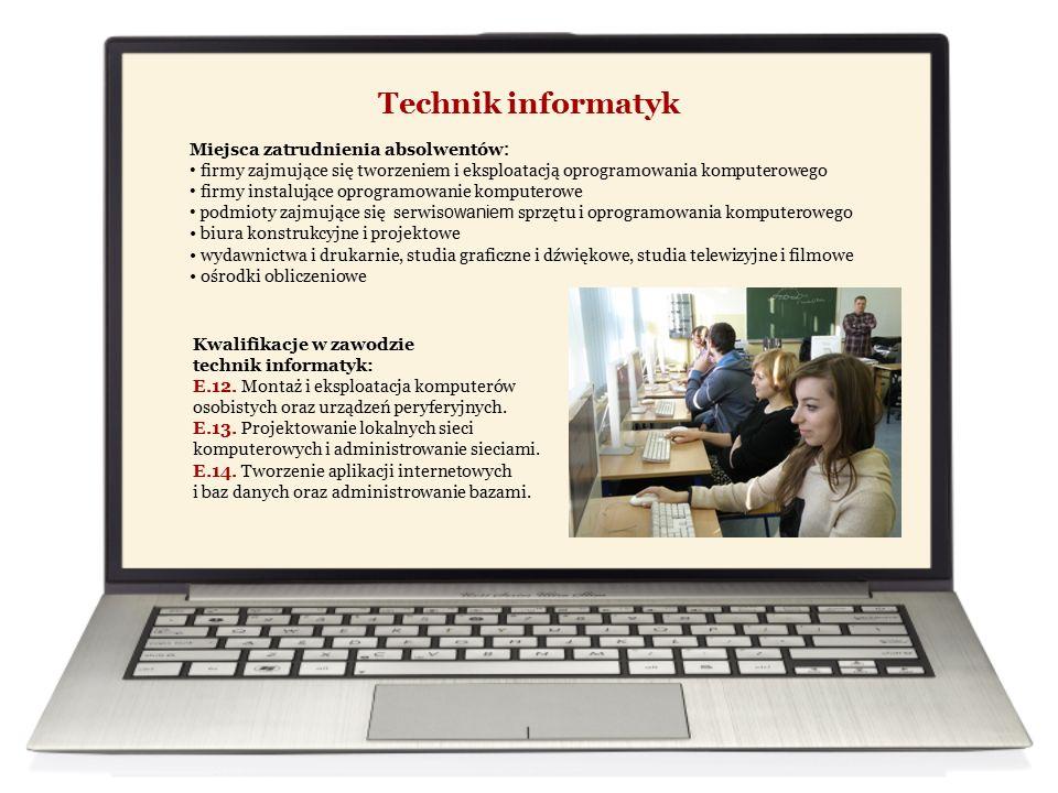 Technik informatyk Miejsca zatrudnienia absolwentów : firmy zajmujące się tworzeniem i eksploatacją oprogramowania komputerowego firmy instalujące oprogramowanie komputerowe podmioty zajmujące się serwis owaniem sprzętu i oprogramowania komputerowego biura konstrukcyjne i projektowe wydawnictwa i drukarnie, studia graficzne i dźwiękowe, studia telewizyjne i filmowe ośrodki obliczeniowe Kwalifikacje w zawodzie technik informatyk: E.12.