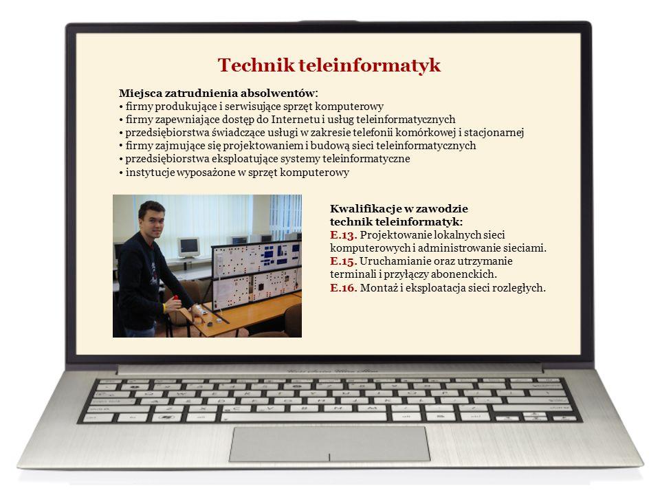 Technik teleinformatyk Miejsca zatrudnienia absolwentów : firmy produkujące i serwisujące sprzęt komputerowy firmy zapewniające dostęp do Internetu i usług teleinformatycznych przedsiębiorstwa świadczące usługi w zakresie telefonii komórkowej i stacjonarnej firmy zajmujące się projektowaniem i budową sieci teleinformatycznych przedsiębiorstwa eksploatujące systemy teleinformatyczne instytucje wyposażone w sprzęt komputerowy Kwalifikacje w zawodzie technik teleinformatyk: E.13.