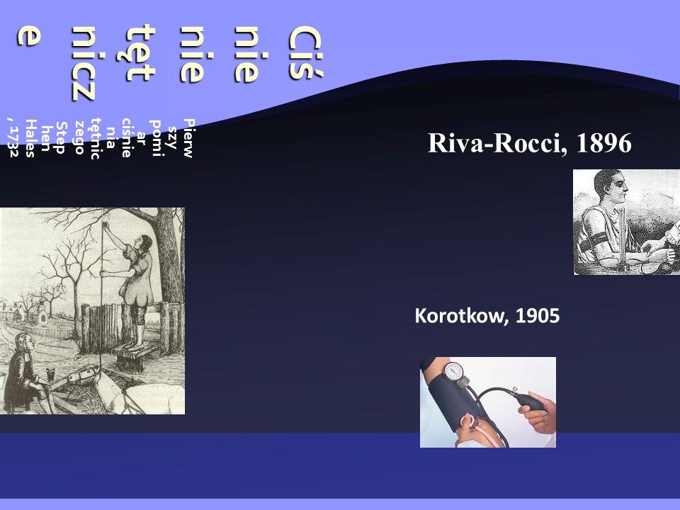 Ciśnienietętnicze Pierw szy pomi ar ciśnie nia tętnic zego Step hen Hales, 1732 Riva-Rocci, 1896 Korotkow, 1905