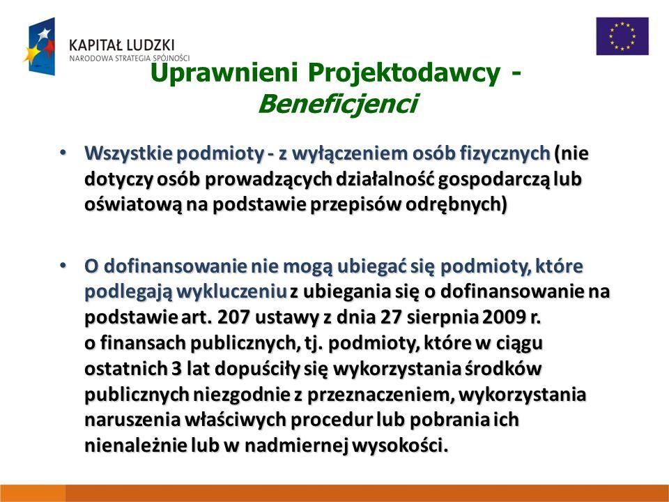 Uprawnieni Projektodawcy - Beneficjenci Wszystkie podmioty - z wyłączeniem osób fizycznych (nie dotyczy osób prowadzących działalność gospodarczą lub oświatową na podstawie przepisów odrębnych) Wszystkie podmioty - z wyłączeniem osób fizycznych (nie dotyczy osób prowadzących działalność gospodarczą lub oświatową na podstawie przepisów odrębnych) O dofinansowanie nie mogą ubiegać się podmioty, które podlegają wykluczeniu z ubiegania się o dofinansowanie na podstawie art.