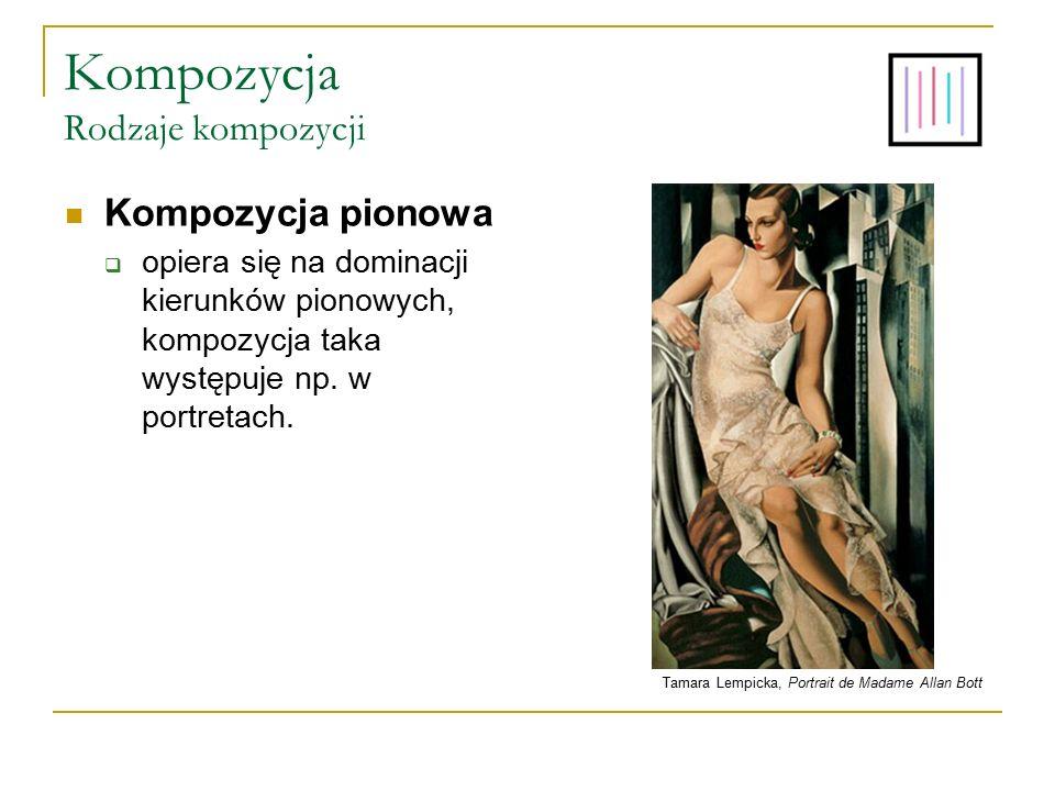 Kompozycja Rodzaje kompozycji Kompozycja pionowa  opiera się na dominacji kierunków pionowych, kompozycja taka występuje np. w portretach. Tamara Lem