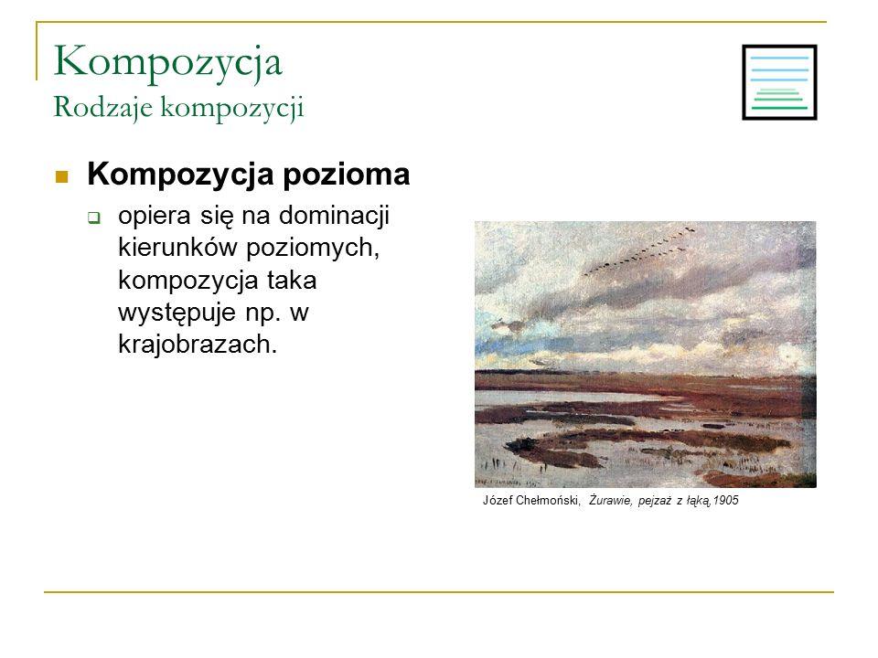 Kompozycja Rodzaje kompozycji Kompozycja pozioma  opiera się na dominacji kierunków poziomych, kompozycja taka występuje np. w krajobrazach. Józef Ch