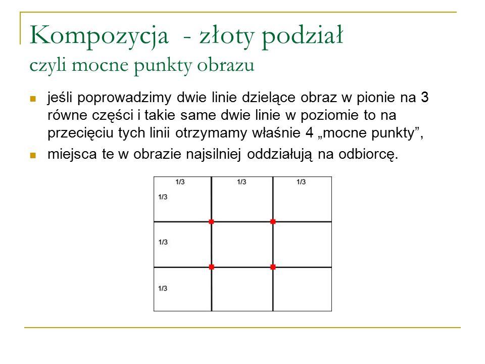 Kompozycja - złoty podział czyli mocne punkty obrazu jeśli poprowadzimy dwie linie dzielące obraz w pionie na 3 równe części i takie same dwie linie w
