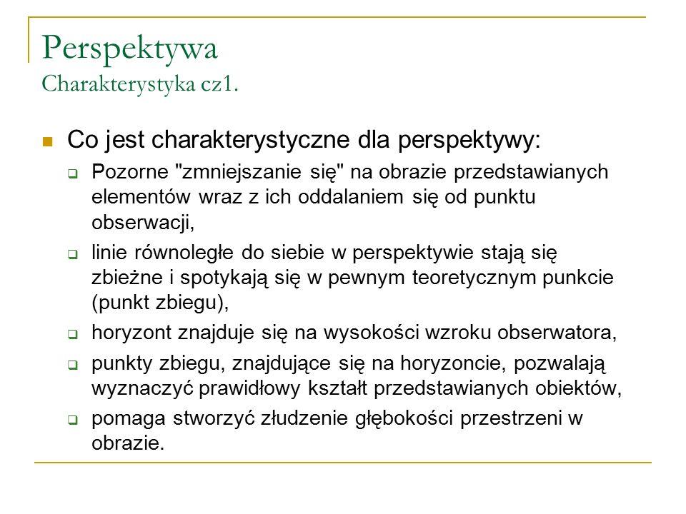 Perspektywa Charakterystyka cz1. Co jest charakterystyczne dla perspektywy:  Pozorne