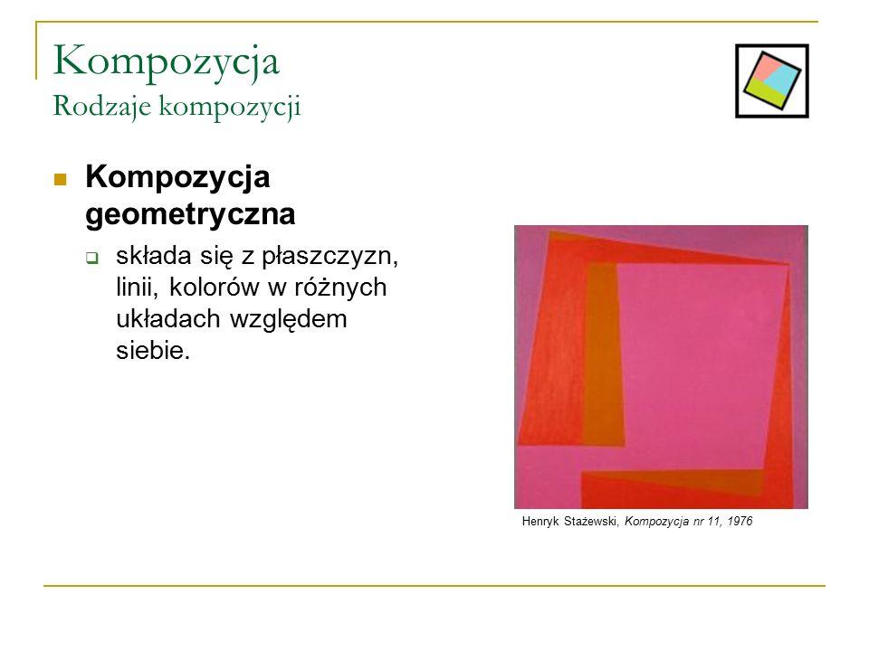 Kompozycja Rodzaje kompozycji Kompozycja geometryczna  składa się z płaszczyzn, linii, kolorów w różnych układach względem siebie. Henryk Stażewski,