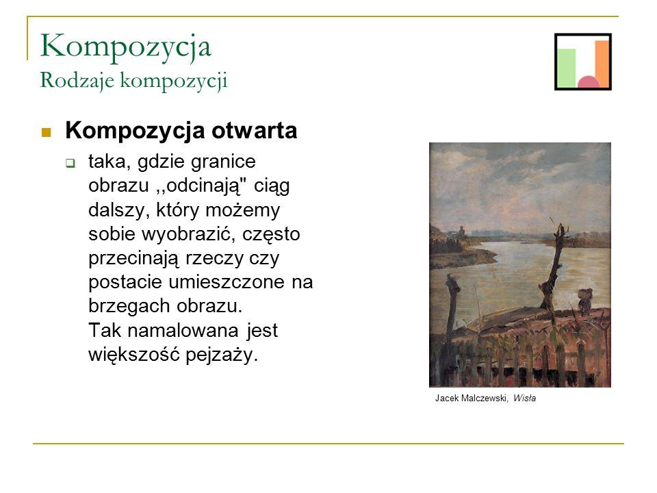 Kompozycja Rodzaje kompozycji Kompozycja zamknięta  taka, która w całości znajduje się na obrazie, nie posiada dalszego ciągu poza jego granicami.