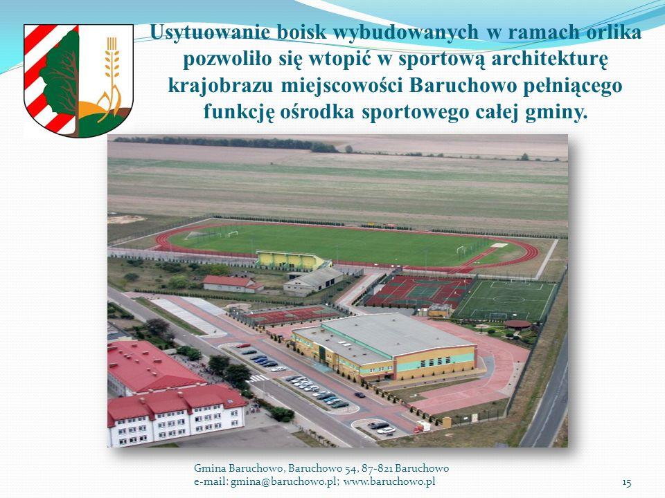 Usytuowanie boisk wybudowanych w ramach orlika pozwoliło się wtopić w sportową architekturę krajobrazu miejscowości Baruchowo pełniącego funkcję ośrodka sportowego całej gminy.
