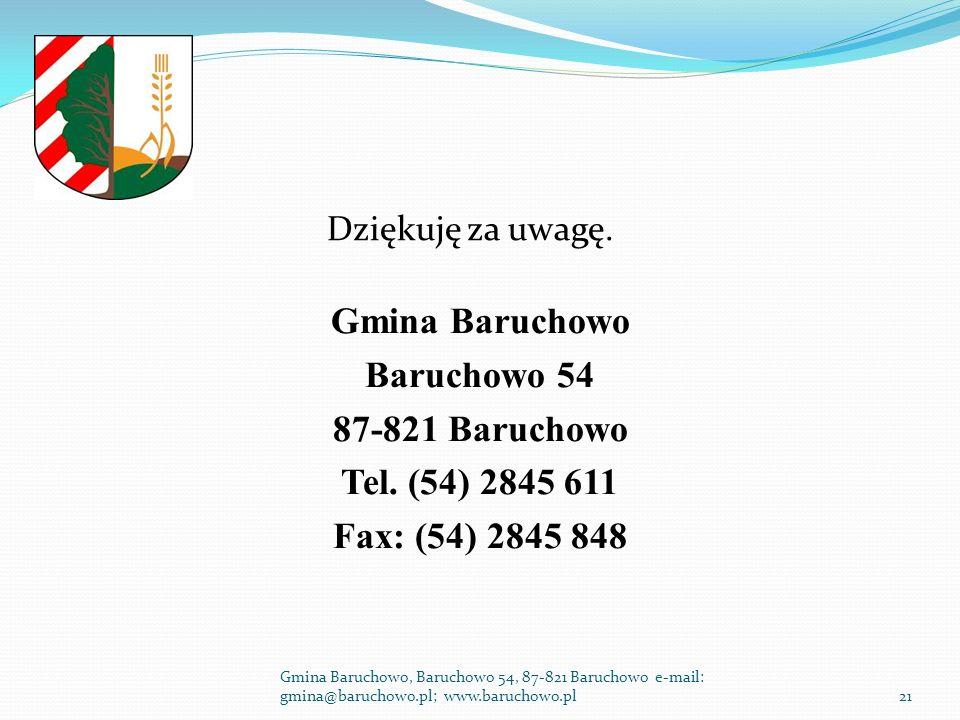 Dziękuję za uwagę. Gmina Baruchowo Baruchowo 54 87-821 Baruchowo Tel.