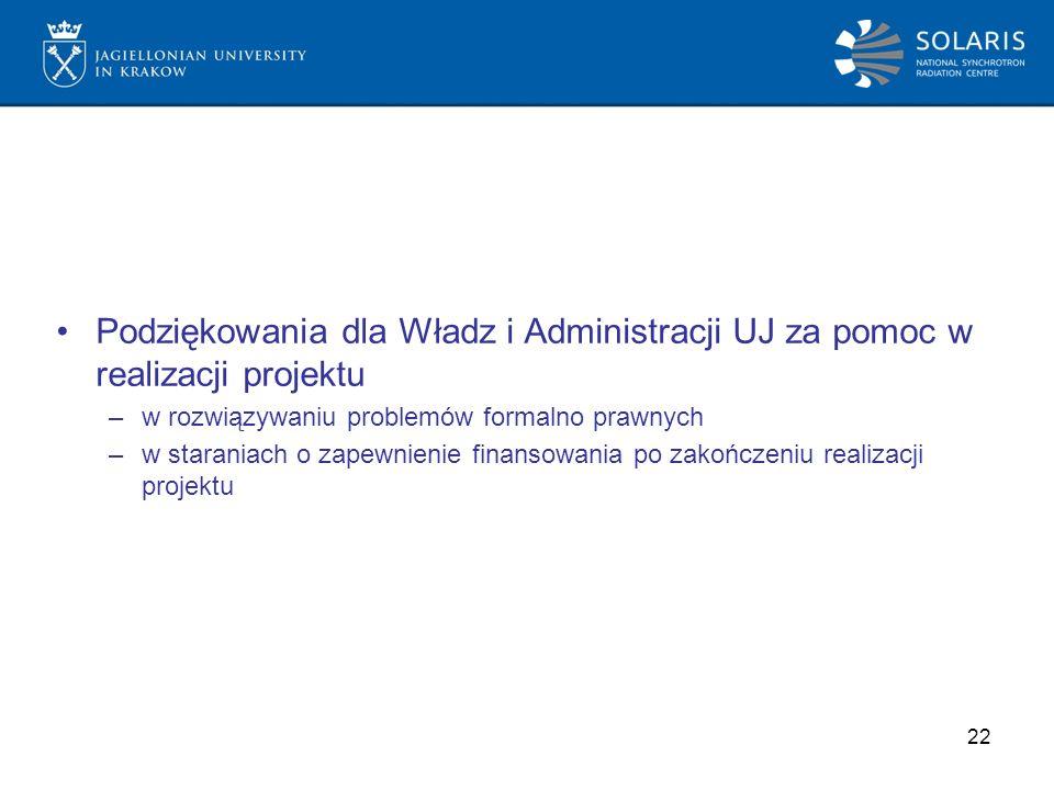 Podziękowania dla Władz i Administracji UJ za pomoc w realizacji projektu –w rozwiązywaniu problemów formalno prawnych –w staraniach o zapewnienie finansowania po zakończeniu realizacji projektu 22