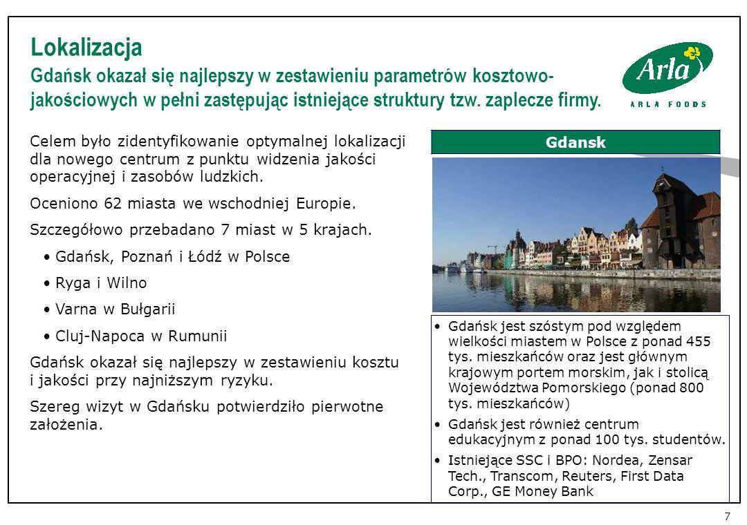 Lokalizacja Gdańsk okazał się najlepszy w zestawieniu parametrów kosztowo- jakościowych w pełni zastępując istniejące struktury tzw.