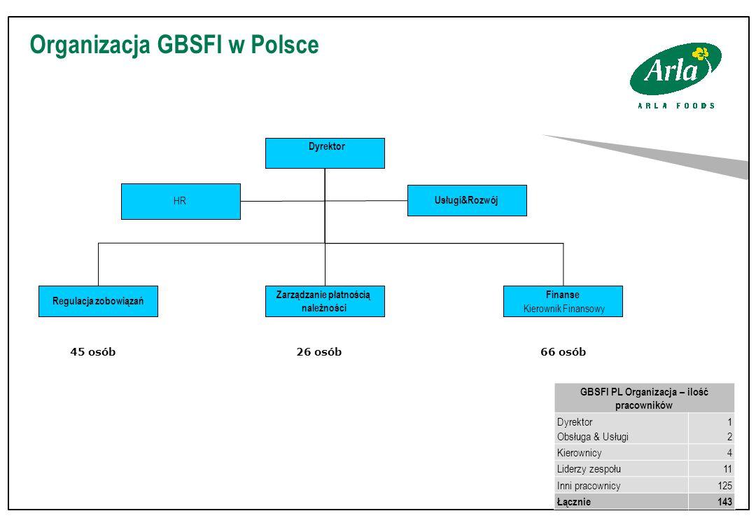 Organizacja GBSFI w Polsce Dyrektor Finanse Kierownik Finansowy Regulacja zobowiązań Zarządzanie płatnością należności Usługi&Rozwój HRHR GBSFI PL Organizacja – ilość pracowników Dyrektor Obsługa & Usługi 1212 Kierownicy4 Liderzy zespołu11 Inni pracownicy125 Łącznie143 45 osób26 osób66 osób