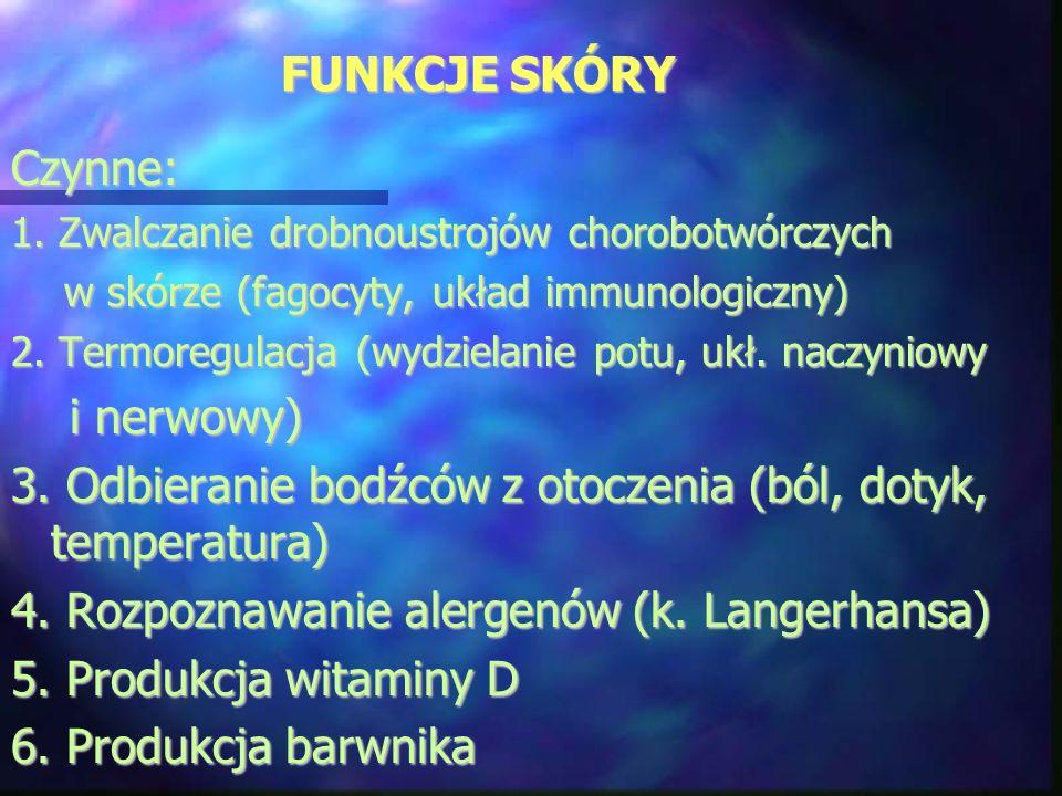 FUNKCJE SKÓRY Czynne: 1. Zwalczanie drobnoustrojów chorobotwórczych w skórze (fagocyty, układ immunologiczny) w skórze (fagocyty, układ immunologiczny