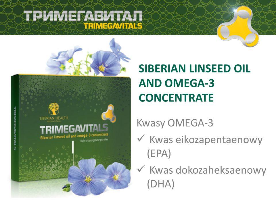 SUBSTANCJE CZYNNE BIOLOGICZNIE, ZAWARTE W PRODUKTACH TRIMEGAVITAL Produkt Grupa Substancje czynne zawarte w produkcie Uzupełnienie dziennego zapotrzebowania Siberian linseed oil and omega-3 concentrate Omega-3 Kwas dokozaheksaenowy (DHA) 375 mg DHA Superconcentrate Омега-3 Kwas dokozaheksaenowy (DHA) 200 mg All-natural beta- carotene in sea buckthorn oil Beta-karoten (Witamina A Witamina E 1002 mcg 15,2 mg