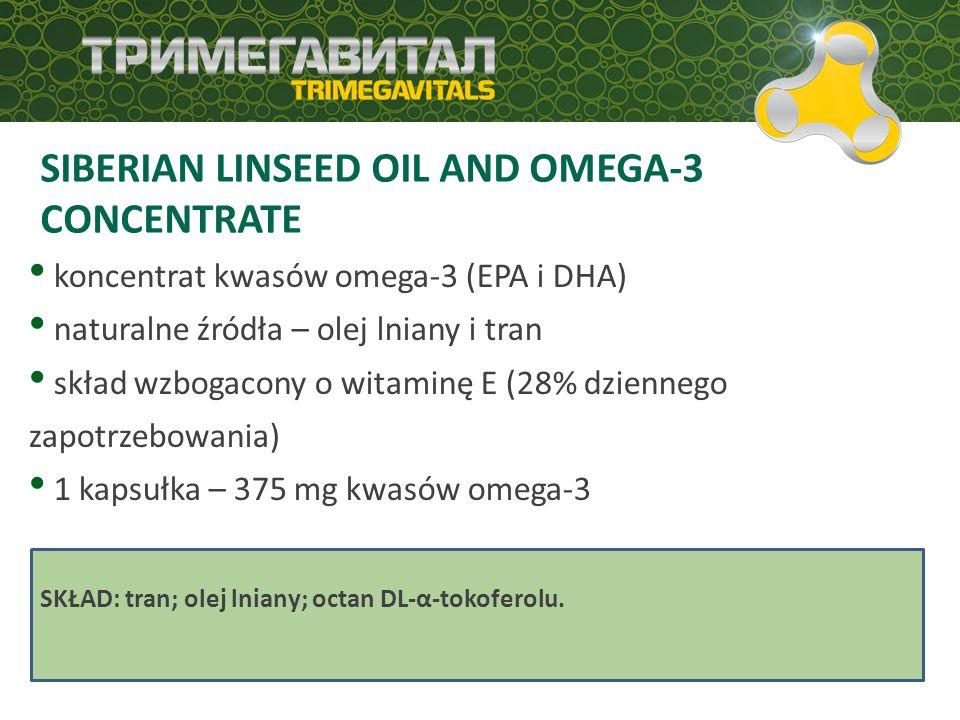 SIBERIAN LINSEED OIL AND OMEGA-3 CONCENTRATE koncentrat kwasów omega-3 (EPA i DHA) naturalne źródła – olej lniany i tran skład wzbogacony o witaminę E (28% dziennego zapotrzebowania) 1 kapsułka – 375 mg kwasów omega-3 SKŁAD: tran; olej lniany; octan DL-α-tokoferolu.