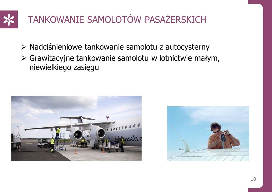 TANKOWANIE SAMOLOTÓW PASAŻERSKICH  Nadciśnieniowe tankowanie samolotu z autocysterny  Grawitacyjne tankowanie samolotu w lotnictwie małym, niewielkiego zasięgu 10