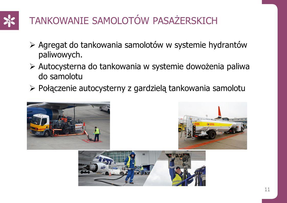 TANKOWANIE SAMOLOTÓW PASAŻERSKICH  Agregat do tankowania samolotów w systemie hydrantów paliwowych.  Autocysterna do tankowania w systemie dowożenia