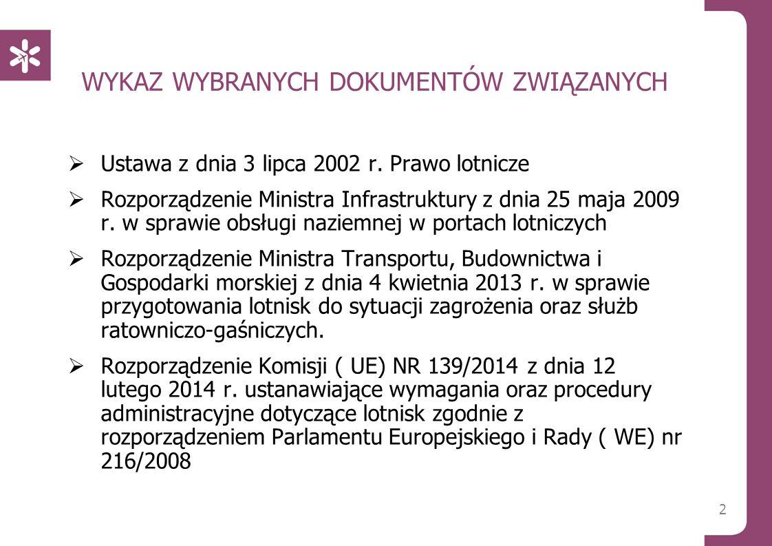 2 WYKAZ WYBRANYCH DOKUMENTÓW ZWIĄZANYCH  Ustawa z dnia 3 lipca 2002 r. Prawo lotnicze  Rozporządzenie Ministra Infrastruktury z dnia 25 maja 2009 r.