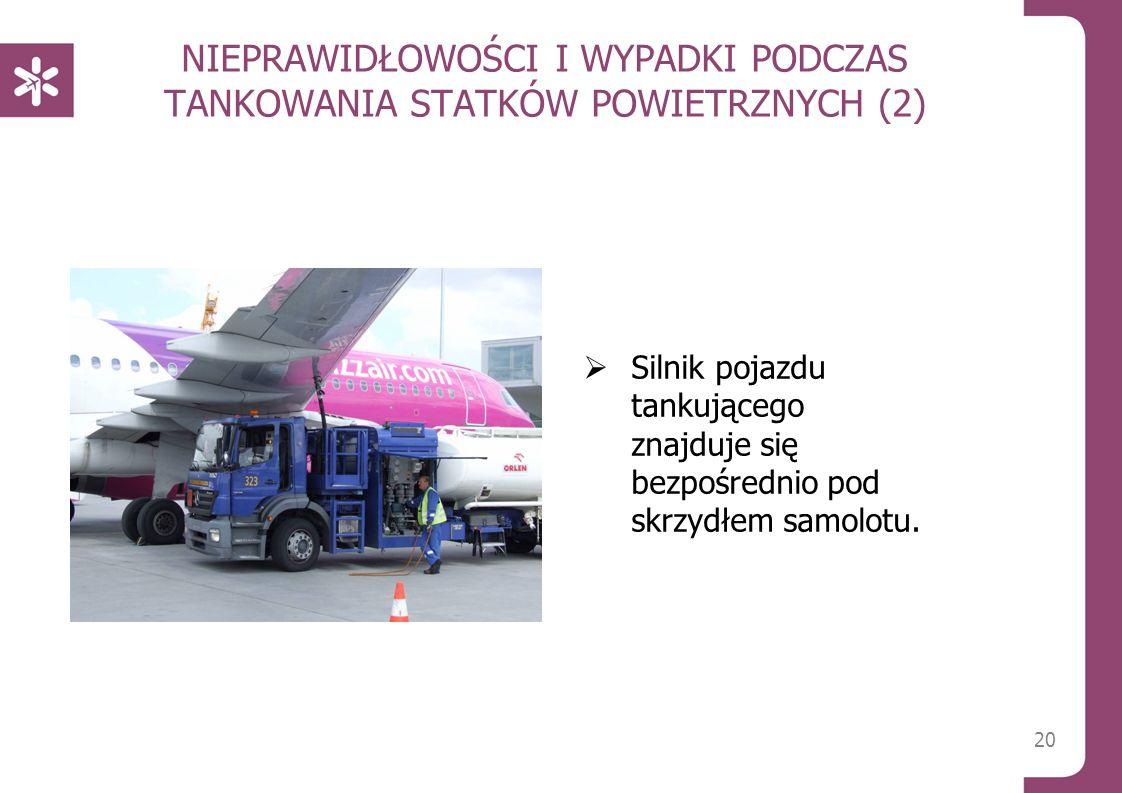 20 NIEPRAWIDŁOWOŚCI I WYPADKI PODCZAS TANKOWANIA STATKÓW POWIETRZNYCH (2)  Silnik pojazdu tankującego znajduje się bezpośrednio pod skrzydłem samolotu.